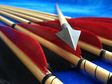 12PCS HANDMADE WOODEN ARROWS BEAUTIFUL TRADITIONAL ARCHERY RED FEATHER LONGBOWS