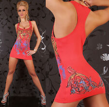 Sexy Long Top / Mini Dress Coral Tattoo Pattern Sleeveless One Size 8 10