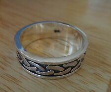 size 12 Sterling Silver 9g Men's Spinning Overlap Knot 8mm wide Band Ring