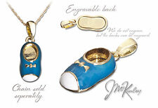 Gold Plated Blue Baby Shoe Pendant  008-g