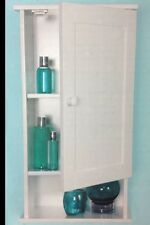 BATHROOM WALL CABINET STORAGE UNIT WHITE WOOD FINISH BATHROOM 3 SHELF CUPBOARD