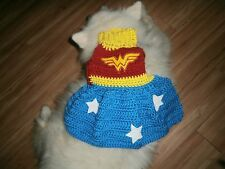 CROCHETED WONDERWOMAN  DOG SWEATER , MEDIUM