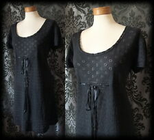 Gothic Black Lace Knit Ribbon Tie SPELLBOUND Tea Dress 10 12 Victorian Romantic