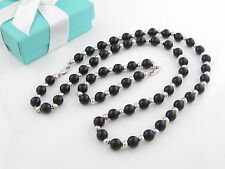 Tiffany & Co Silver Onyx Ball Bead Necklace Bracelet Box Included