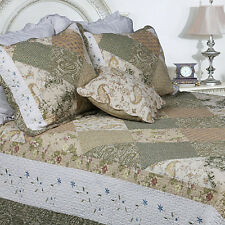 OVERSIZED REVERSIBLE SAGE IVORY  FLORAL  PATCHWORK PATTERNED BEDSPREAD SET KING