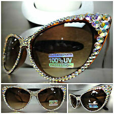 VINTAGE RETRO 60's CAT EYE Style BLING SUN GLASSES Iridescent Crystals Handmade
