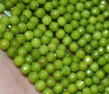 "4mm Natural Green Peridot Faceted Round Gemstone Loose Beads 15"" AAA+"