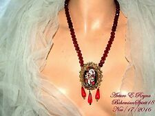 ARTURO E.REYNA SANTA CAMEO CHRISTMAS RED GARNET CZECH GLASS BEADS CHARM NECKLACE