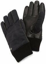 Marc New York Men's Leather & Nylon Wool Kint Cuff Warm Quilted Gloves Black M/L