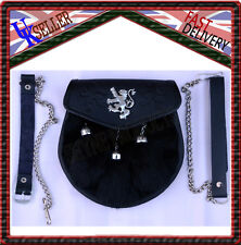 BLACK RABBIT FUR SPORRAN TRIPLE LION RAMPANT SEMI DRESS SPORRAN WITH 3 TASSELS