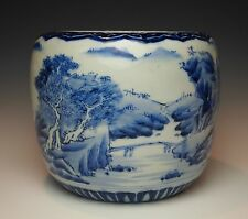 Antique JAPANESE AOKI KO IMARI POT 1800s Blue & White Porcelain Hibachi Hizen