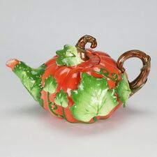 Vintage Fitz floyd Maryland style Pumpkin Teapot Porcelain artistic collectible
