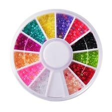 ROUND NAIL ART GEMS JEWELS DESIGN CRAFT NAILS 6CM WHEEL MIXED COLOUR