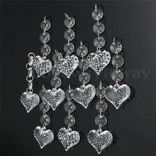 10pcs Acrylic Crystal Beads Garland Chandelier Hanging Wedding Party Decor Heart