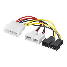 Lüfter Adapter PC Strom Lüfterkabel 4 Pin auf 4x Molex 3 Pin 2x 5V + 2x 12V