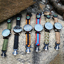 Survival Outdoor Paracord Watch Bracelet Flint Fire Starter Scraper Whistle Kit