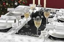 2 x Black & Silver Snowflake Table Runner Tableware Decoration NEW Xmas