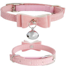 Pretty Small Pink PU Suede Leather Bow Bell Fashion Break Away Cat Kitten Collar