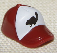 LEGO NEW DARK RED AND WHITE MINIFIGURE HAT BASEBALL CAP WITH BEAVER PATTERN