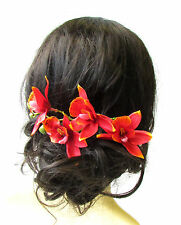 Long Red Tropical Orchid Flower Hair Comb Fascinator Headpiece Hawaiian 50s 1582