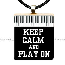Scrabble Tile Pendant Keep Calm & Play On Piano Keys Custom Recycled Jewelry 01