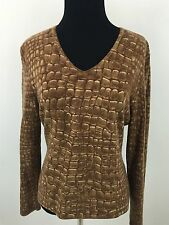 TALBOTS S V-Neck S Sweater Cashmere Silk Brown Small Women's