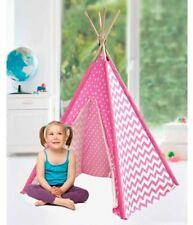 American Kids Childrens Indoor Cotton TeePee Play Tent Pink Chevron Dots Girls