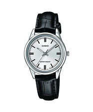 Casio Women's Black Leather Strap Watch, Silvertone Dial,  LTP-V005L-7A