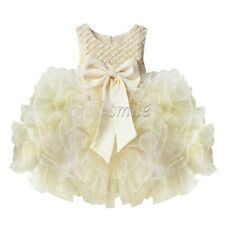 Flower Girl Princess Bow Dress Kids Baby Wedding Xmas Party Pageant Tulle Dress