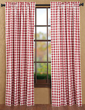 Drapery Panel Pair Dark Red and Off White Gingham Buffalo Check Window Treatment