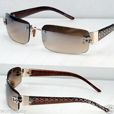 New DG Small Rectangular Womens Sunglasses Shades Gold Brown Designer Classic