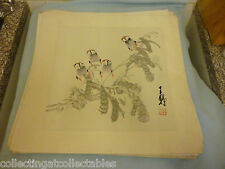 Chinese Ink Wash Painting  (Signed with artist Seal) Four  Birds On Flora