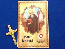 Rare St BENEDICT Crucifix with Relic Card Protection Exorcism's Gold Plate Italy