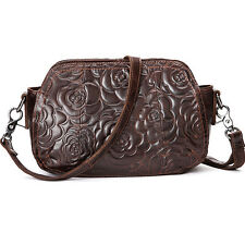 Women Vintage Genuine Leather Messenger Shoulder Bag Embossed Cross Body Handbag
