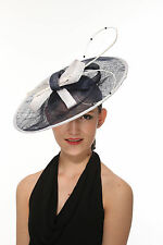 Sinamay Disc Fascinator Hat with Quill and Pearl-Beaded Detail Navy Blue w White