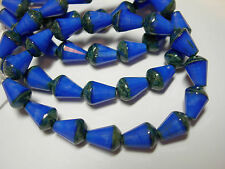 15 Czech Glass Blue Silk Travertine Faceted Teardrop Beads 8x5mm