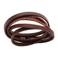 INOX Men's Light Brown Wrapped With Dark Leather Bracelet