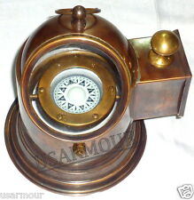 Antique Brass Binnacle Compass / Nautical Boat Lamp / Oil Lamp