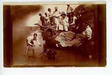 Playing with the Family Dog RPPC Rare HILL CITY KS Antique Photo ca. 1910s