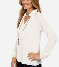 MICHAEL Michael Kors Chain Neck Raglan Sleeve Peasant Blouse/Top S Cream