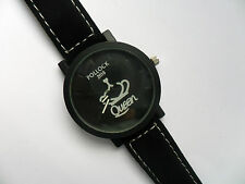Very Smart QUEEN Quartz Watch Black Suede Strap