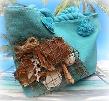 Beach Bag Purse Nautical Tote Handbag Seashells Fish Net Summer Teal
