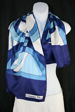 Christian Dior Blue and White Abstract Print Fashion Scarf