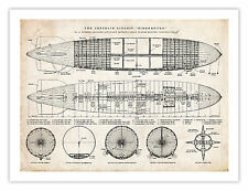 HINDENBURG ZEPPELIN AIRSHIP POSTER DIAGRAM PRINT 18X24 GEEK GIFT DISASTER 1937