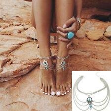 New Boho Beach Turquoise Beads Tassel Chain Anklet Barefoot Sandals Foot Jewelry