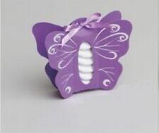 Lot de 10 boites à dragées papillon lilas argent baptême mariage communion