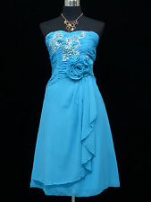 Cherlone Chiffon Blue Prom Ball Evening Bridesmaid Wedding Formal Dress 14