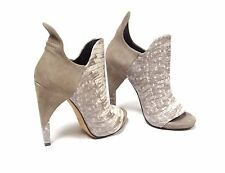 "ALEXANDER WANG Grey EEL Skin Leather Peep-Toe Booties Size  36 / 6   ""$895.00"""