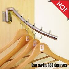 Clothes Hanging Drying Rack Hanger Holder Swing Arm Wall Mount Stainless Steel