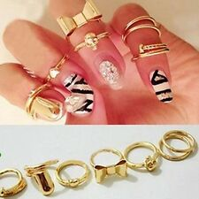 7PCS Women Jewelry Bowknot Above Knuckle Mid Finger Tip Stacking Ring Sets